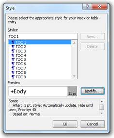 select style window