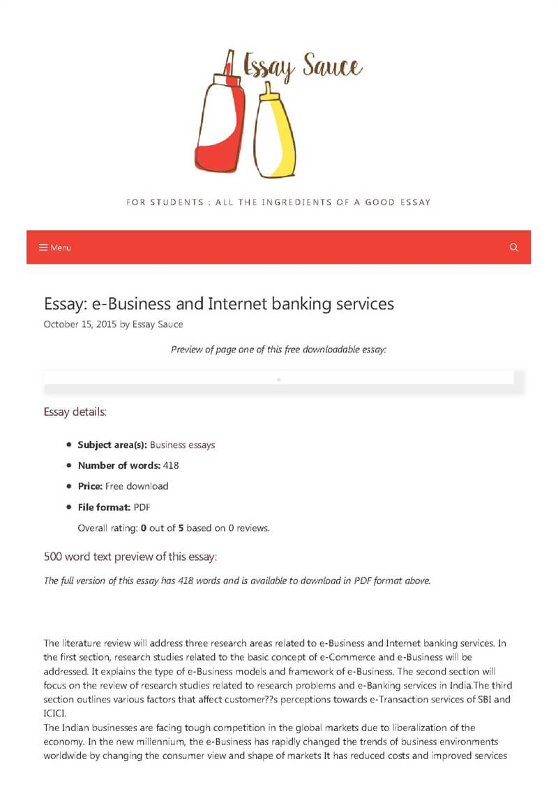 e business and internet banking services   business essays
