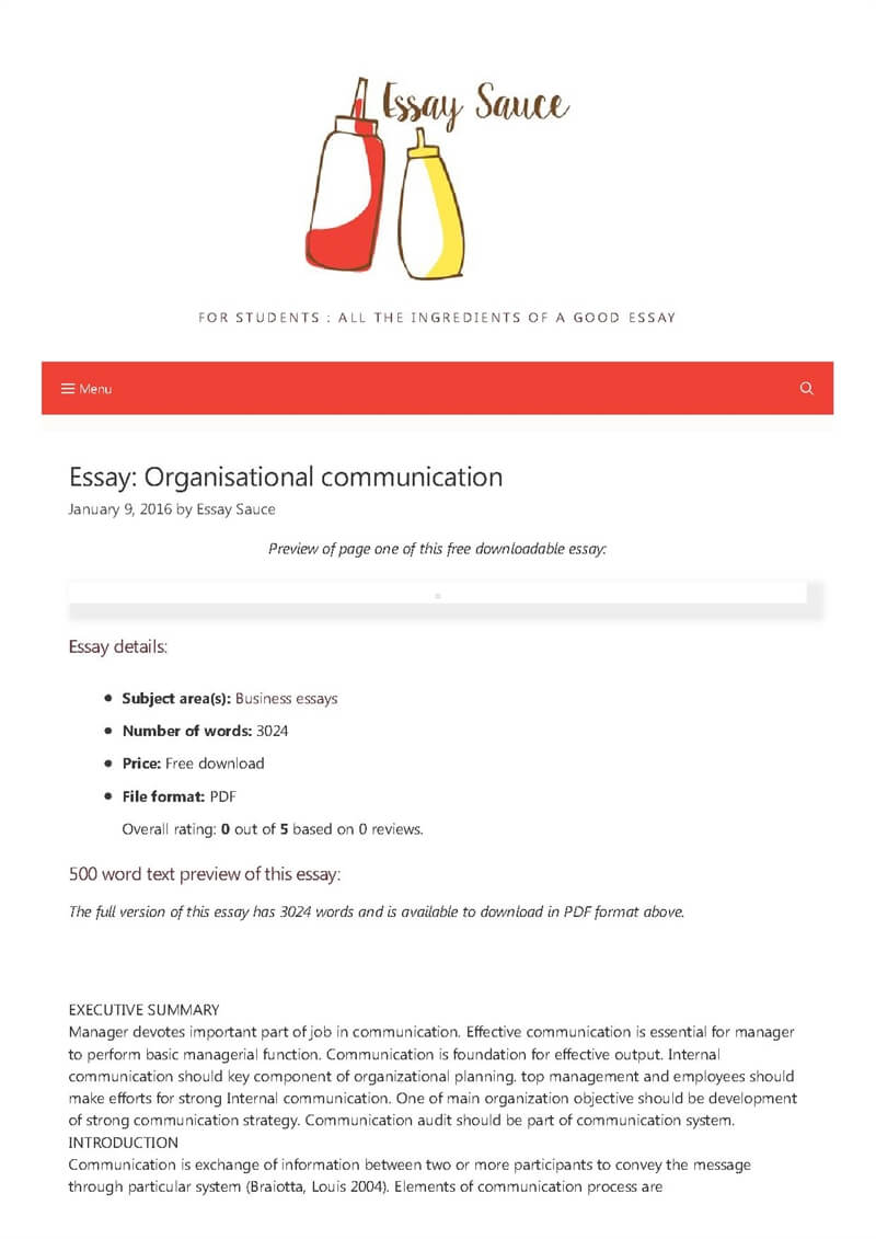 Business communication essay