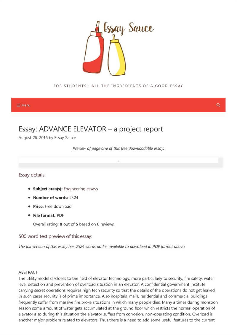 ADVANCE ELEVATOR - a project report - Engineering essays - Essay