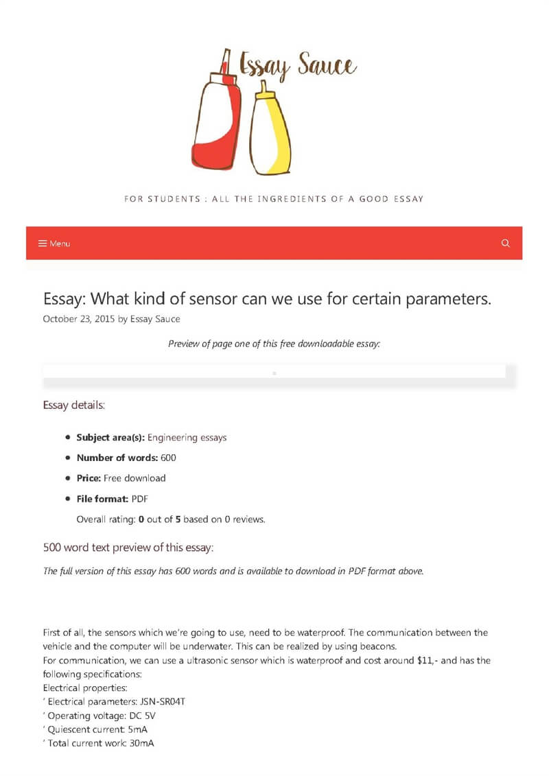 What kind of sensor can we use for certain parameters  - Engineering