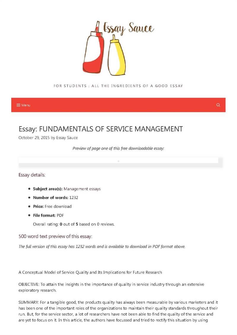 FUNDAMENTALS OF SERVICE MANAGEMENT - Management essays - Essay Sauce