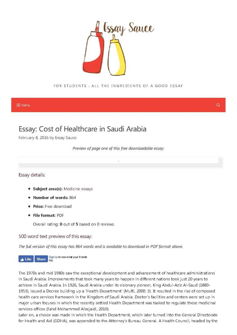 cost of healthcare in saudi arabia   medicine essays   essay sauce  essay details