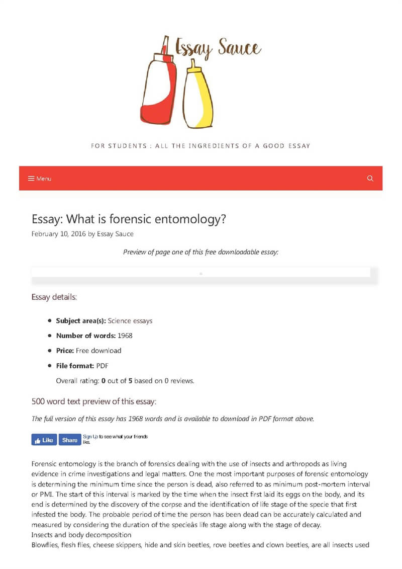What is forensic entomology? - Science essays - Essay Sauce