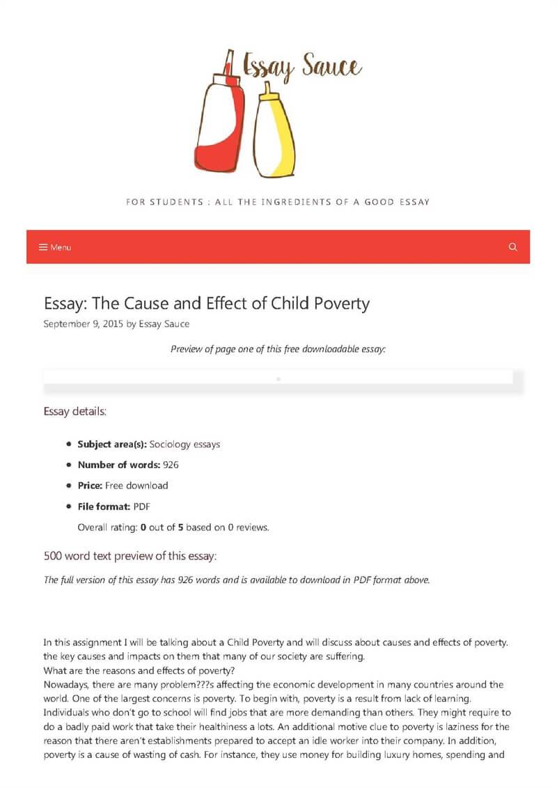 Causes poverty essay